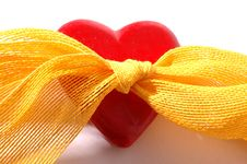 Free Red Heart And Ribbon Royalty Free Stock Photography - 1859627