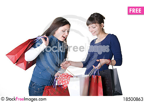 Two girls with bags Stock Photo