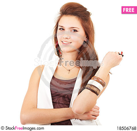 Young woman with ring Stock Photo