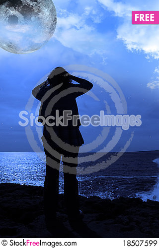 Free A Sad Lone Woman With Full Moon On A Cliff Edge Royalty Free Stock Images - 18507599