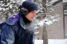 Free Senior Man Snow Blowing Royalty Free Stock Image - 18500766