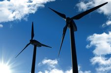 Free Wind Turbines On Blue Sky Royalty Free Stock Images - 18500809
