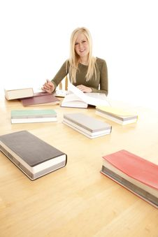 Free Woman Happy Big Table Study. Royalty Free Stock Photography - 18501147