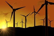 Free Wind Turbines Farm (power Generating Windmills) Stock Photos - 18502203