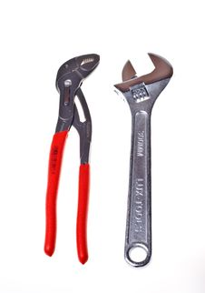 Alligator Wrench And Adjustable Spanner(isolated). Stock Photos