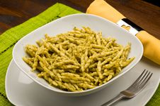 Pasta With Pesto Stock Photos