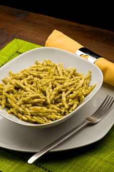 Free Pasta With Pesto Royalty Free Stock Photo - 18502845