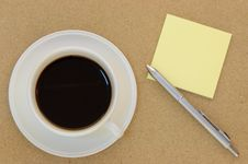 Free Blank Postit Note And Coffee On Table Stock Image - 18505551