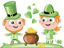 Free Leprechauns With A Gold Pot Royalty Free Stock Photography - 18506637