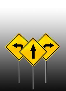 Signs Straight, Turn Left, Turn Right Royalty Free Stock Photo