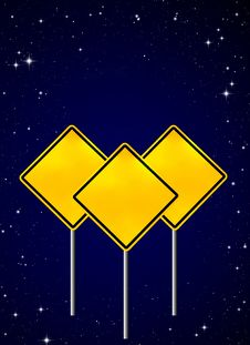 Blank Yellow Road Warning Sign On Night Sky Stock Photos