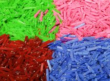 Colored Washing Line Pegs Stock Images