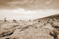 Free Sepia Rocks In Hilly Rocky Burren Landscape Stock Images - 18507654