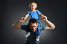 Free The Portrait Of A Little Boy And His Father Royalty Free Stock Photos - 18507808
