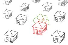 Free Hand Drawing Selection House Stock Photos - 18508173