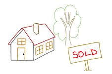 Free Hand Drawing Sold House Royalty Free Stock Image - 18508176