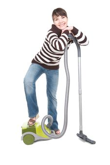 Free Woman With Vacuum Royalty Free Stock Images - 18508579