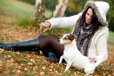 Free Woman With Her Dog Is Pointing Royalty Free Stock Photos - 18509288