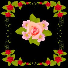 Free Pink Flower Design In Red Rose Frame Royalty Free Stock Photos - 18509428