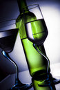 Free Bottle Of Wine And Two Glasses Royalty Free Stock Photo - 18512285