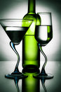 Free Bottle Of Wine And Two Glasses Stock Photography - 18512302