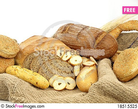Various types of bread and other wheat products Stock Photo