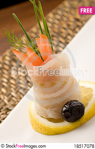 Sea Bass rolls with tomatoes Stock Photo