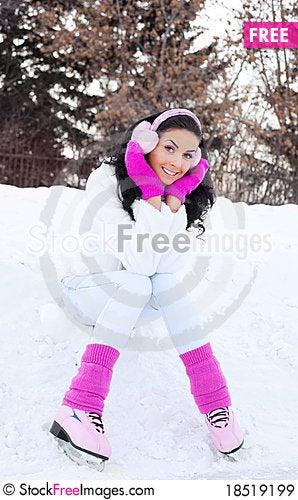 Girl ice skating Stock Photo