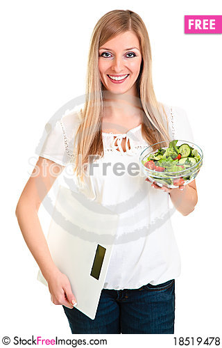 Woman with salad and scales Stock Photo