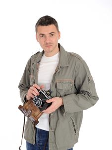 Young Photographer With Old Film Camera Stock Images