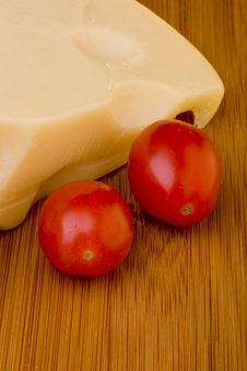 Cheese Slice And Red Tomato Stock Image