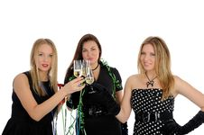 Free Three Beautiful Woman With Glasses Of Champagne Royalty Free Stock Image - 18510626