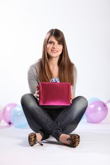 Beautiful Happy Student Girl With Birthday Present Stock Photo