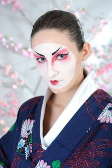 Free Japan Geisha Woman With Creative Make-up Royalty Free Stock Image - 18510916