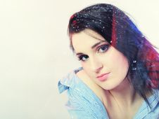 Free Pretty Lonely Girl Looking To Rainy Window Royalty Free Stock Photography - 18511097