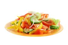 Free Fresh Vegetable Salad Isolated On White Royalty Free Stock Photography - 18511867