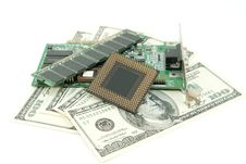 Free Computer Components And Money On White Stock Images - 18513054