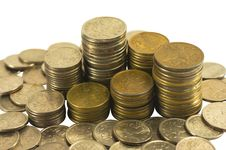 Free Coins In Piles And Loose Royalty Free Stock Photography - 18513597