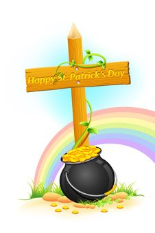 Free Gold Coin Pot Of Saint Patrick Day Stock Photo - 18513920