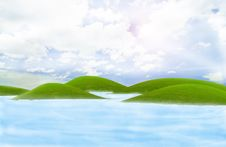 Free Green Island In The Sea Stock Photography - 18514212