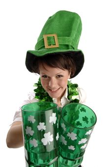 Free Pretty Woman On St. Patrick S Day Stock Photos - 18514253