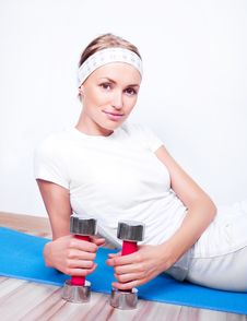 Free Woman With Dumbbells Stock Images - 18515224