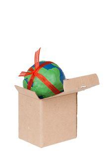 Box And Plasticine Globe Royalty Free Stock Photography