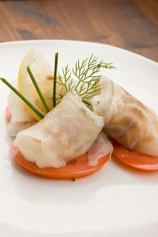 Free Sea Bass Rolls With Tomatoes Stock Images - 18516794