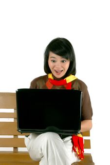 Free Young Woman Surprised Looking Into Laptop Royalty Free Stock Images - 18519159