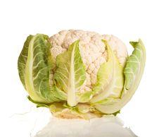 Free Cauliflower Isolated On White Royalty Free Stock Photography - 18519297