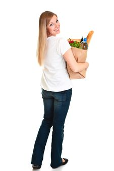 Free Woman Carrying Bag Of Groceries Royalty Free Stock Images - 18519309