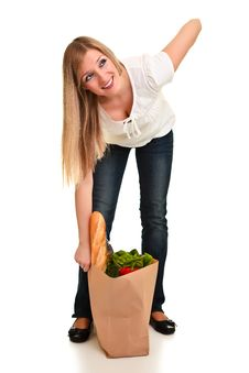 Free Woman Carrying Bag Of Groceries Royalty Free Stock Images - 18519319