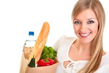 Free Woman Carrying Bag Of Groceries Royalty Free Stock Photos - 18519338