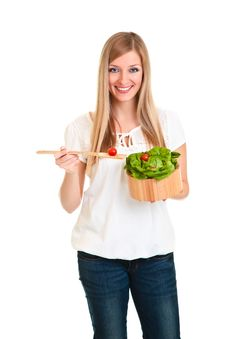 Free Woman With Salad Royalty Free Stock Photo - 18519405